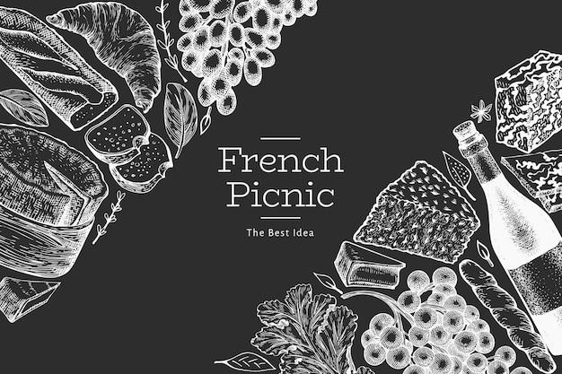 フランス料理イラストテンプレート。チョークボードに手描きのピクニック食事のイラスト。刻まれたスタイルの異なるスナックとワインのバナー。ヴィンテージ料理の背景。