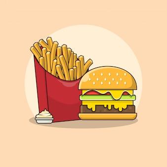 마요네즈 일러스트와 함께 감자 튀김과 햄버거. 패스트 푸드 클립 아트 개념입니다. 플랫 만화 스타일 벡터