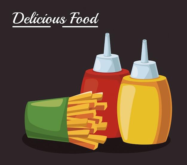 Картофель фри и соусы бутылки