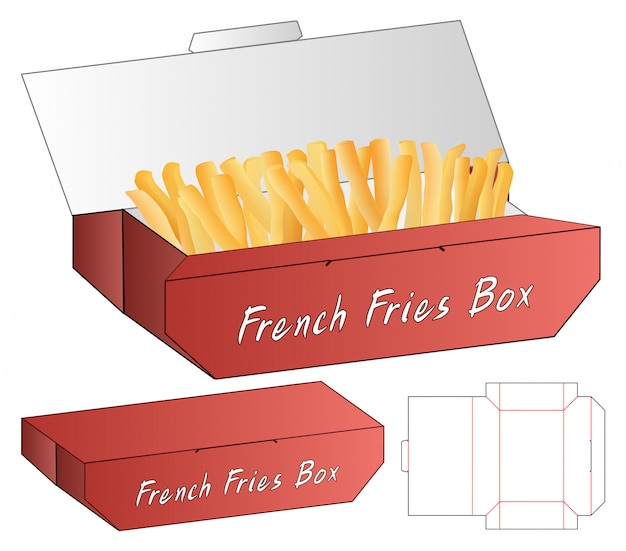 French fries box packaging die cut template design. 3d