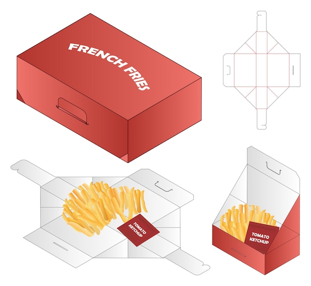French fries box packaging die cut template design