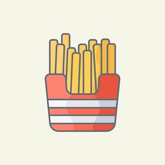 Картофель фри иллюстрации шаржа Premium векторы