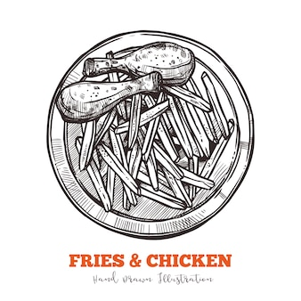 French fries and chicken legs sketch