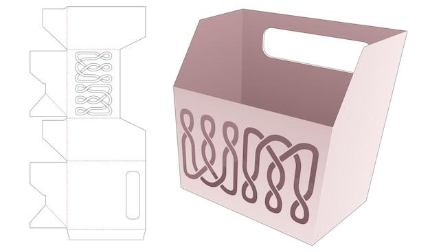 Контейнер для картофеля фри с держателем и высечным шаблоном по трафарету