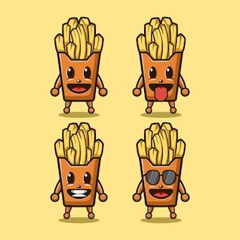 French fries cute mascot character logo design