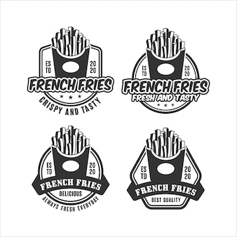 French fries   design set logo collection