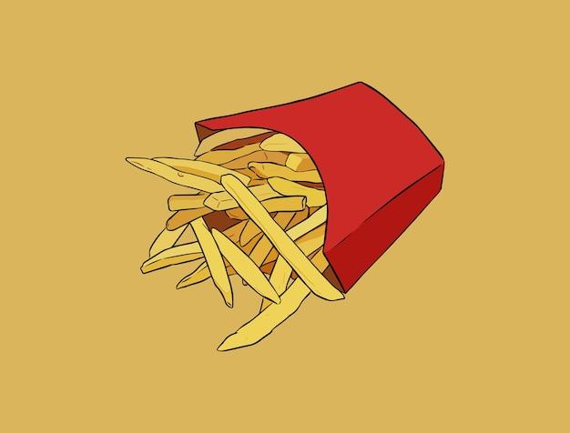 감자 튀김, 손으로 그리는 스케치 정크 푸드 벡터.
