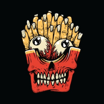 French fries horror monster illustration