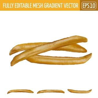 French fries illustration on white