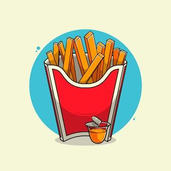 Картофель фри иллюстрации.