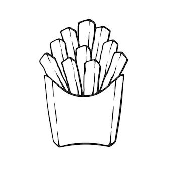 紙パックのフライドポテト不健康な食べ物ベクトル図