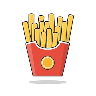 종이 상자에 감자 튀김. 패스트 푸드 상자에 감자 튀김