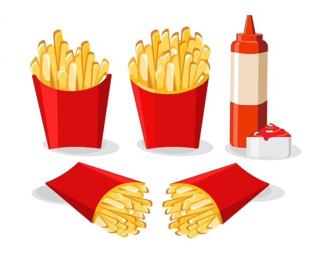 赤いボックスイラストのフライドポテト、チリソースとケチャップとフライドポテト