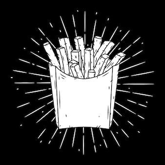 Картофель фри в красной бумажной коробке и расходящихся лучей. иллюстрация