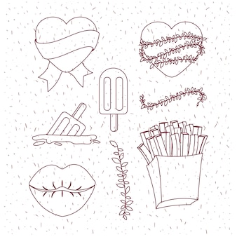 French fries and lips and hearts and popsicles Premium Vector