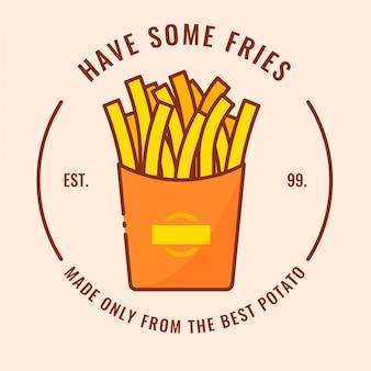 French fries logo design Premium Vector
