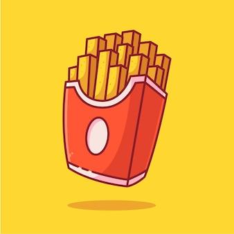 Картофель фри логотип вектор значок иллюстрации премиум фаст-фуд логотип в плоском стиле для ресторана