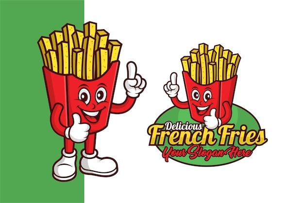 French fries mascot  design logo