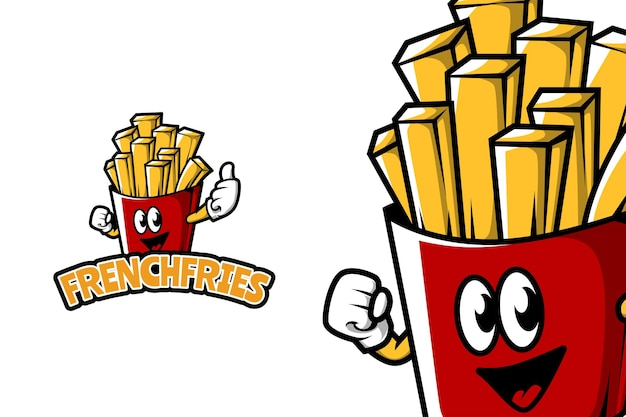 French fries - mascot logo template