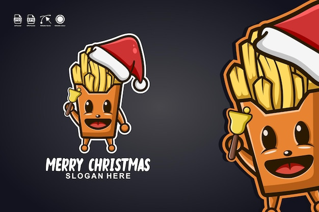 French fries merry christmas cute mascot character logo design