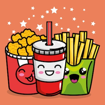 French fries and nugets with soda kawaii character