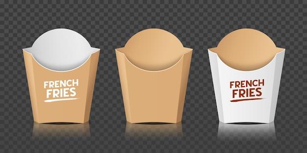 감자 튀김 포장 갈색과 흰색 상자 템플릿 컬렉션
