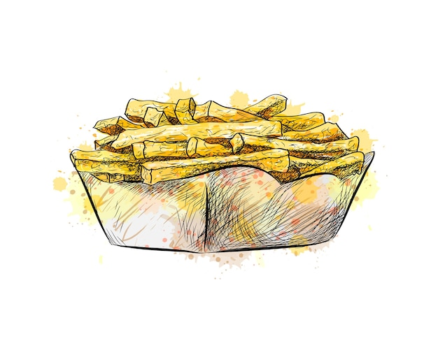French fries in the paper basket from a splash of watercolor, hand drawn sketch.  illustration of paints
