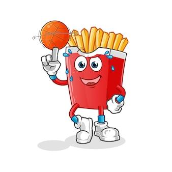 Картофель фри, играя талисман баскетбольного мяча, изолированные на белом