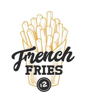 Картофель фри ретро эмблема. шаблон логотипа с черными буквами и эскиз желтого картофеля.