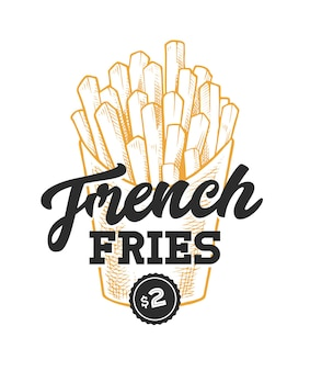 French fries retro emblem. logo template with black letters and yellow french fries sketch.