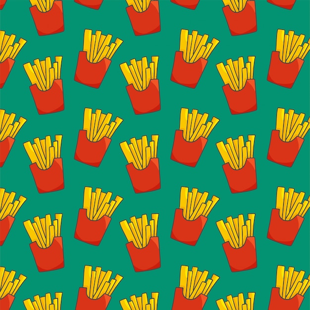 French fries seamless pattern on green