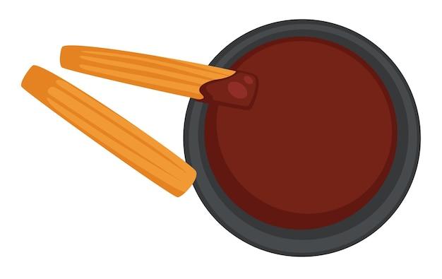 Картофель фри с соусом барбекю, отдельные соленые картофельные палочки с кетчупом. быстрое питание и дополнения в ресторане и закусочных. бистро, ассортимент блюд и блюда на вынос. вектор в плоском стиле