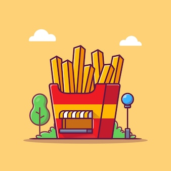 French fries shop cartoon   icon illustration. fast food building icon concept isolated  . flat cartoon style