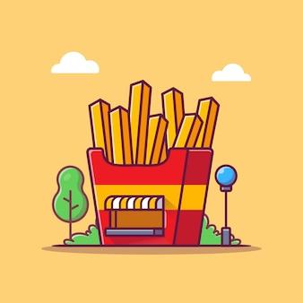 Картофель фри магазин мультфильм значок иллюстрации. концепция значок здания быстрого питания. плоский мультяшном стиле