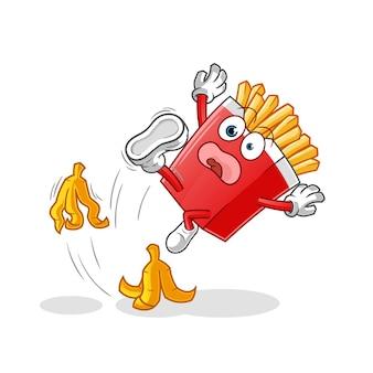 감자 튀김이 바나나 캐릭터에 미끄러졌습니다. 만화 마스코트