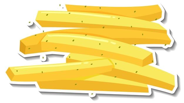 Adesivo per patatine fritte su sfondo bianco