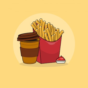 커피 클립 아트 일러스트와 함께 감자 튀김. 패스트 푸드 클립 아트 개념입니다. 플랫 만화 스타일 벡터