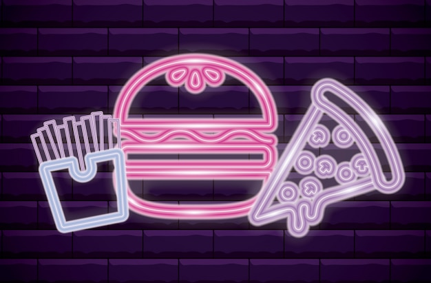 French fries with pizza and hamburger neon light