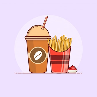 French fries with soda icon illustration.
