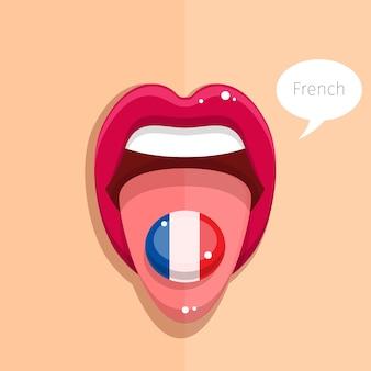 フランス語の概念。フランス語の旗、女性の顔と口を開くフランス語の舌。フラットなデザインのイラスト。