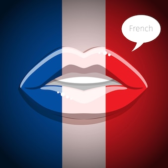 French language concept. glamour lips with make-up of the french flag, woman face. flat design, vector illustration.