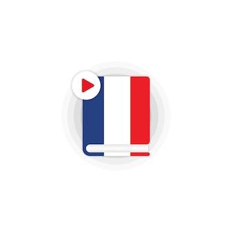 Значок аудиокниги курса французского языка. дистанционное обучение. интернет-семинар. вектор eps 10. изолированный на белой предпосылке.