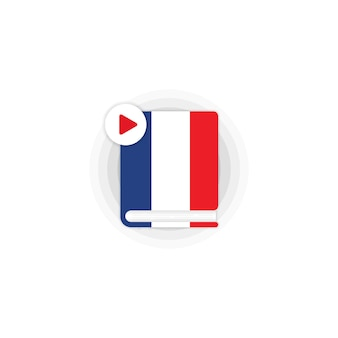 French language course audiobooks icon. distance education. online web seminar. vector eps 10. isolated on white background.