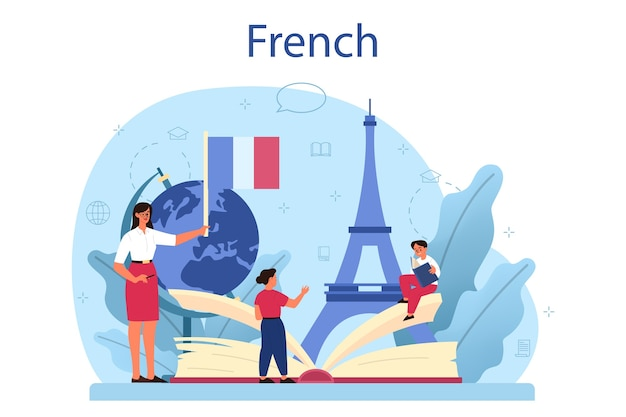 프랑스어 학습 개념 그림