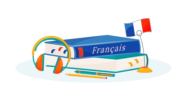 French learning flat concept illustration. foreign language course. school subject. linguistics study metaphor. university class. student textbook and dictionary 2d cartoon objects