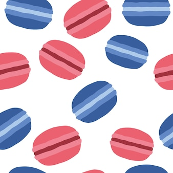 French macaroons dessert. pattern on a white background. vector illustration of a flat style.