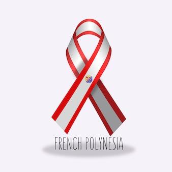 Флажок с французской полинезийской лентой