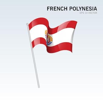 Развевающийся флаг французской полинезии, изолированные на сером