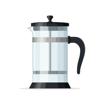 프렌치 프레스 커피 포트 흰색 배경에 고립입니다. 피스톤이 있는 빈 유리 주전자. 가정용 커피 메이커, 음료 제품. 커피숍 및 레스토랑 메뉴에 가장 적합합니다. 벡터 일러스트 레이 션.