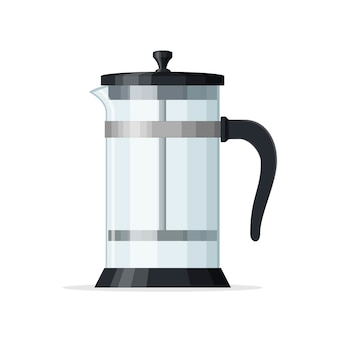 French press coffee pot isolated on white background. empty glass teapot with piston. home coffee maker, drink ware. best for coffee shop and restaurant menu. vector illustration.